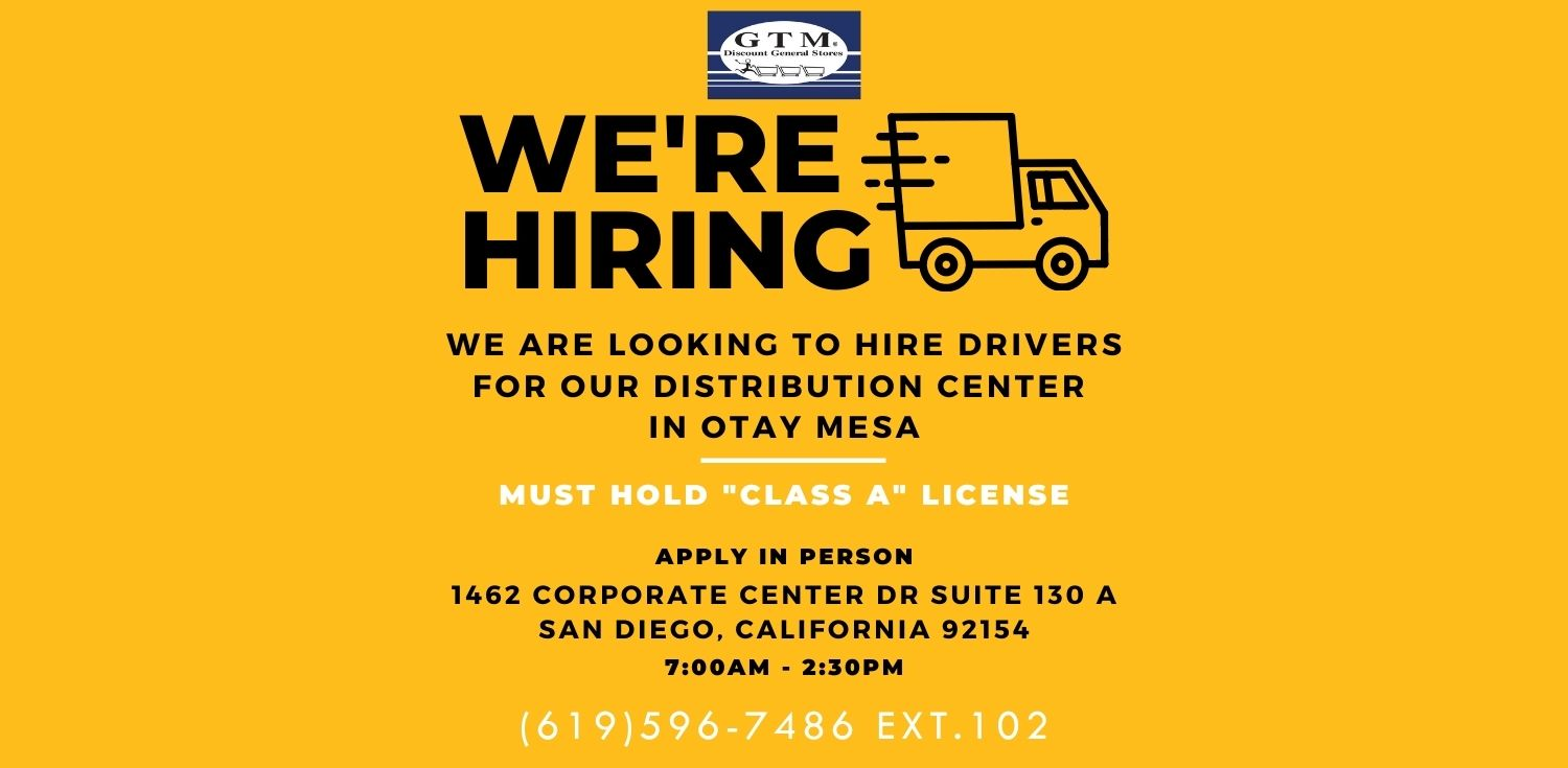 Now Hiring Drivers for GTM Warehouse