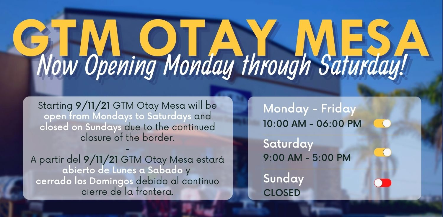 GTM Otay Now Open on Saturdays Too!